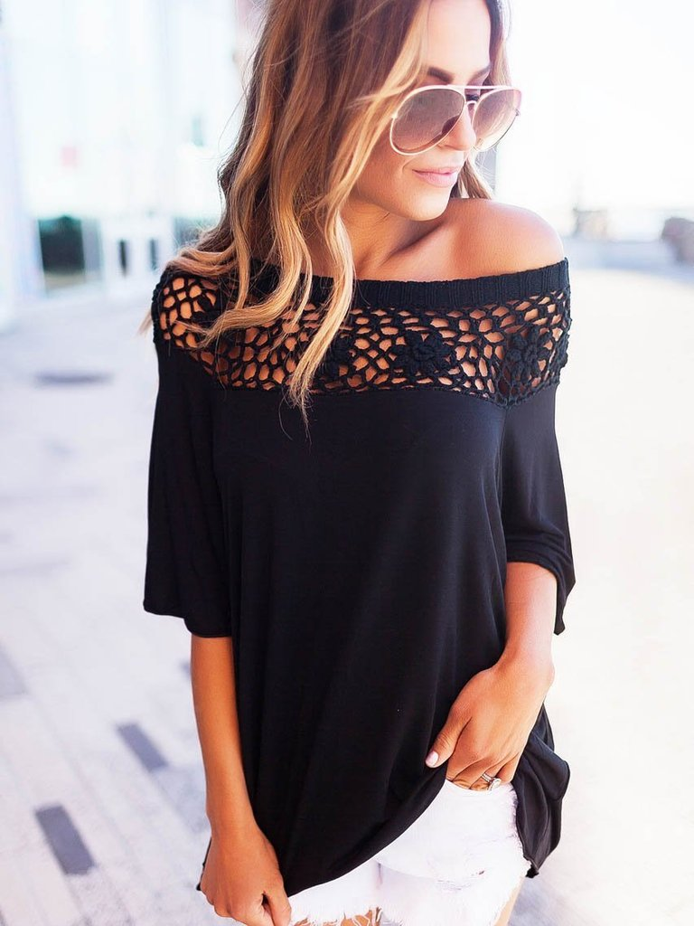 Beautiful Round Neck Lace Half Sleeve T-Shirts Tops - sparshine