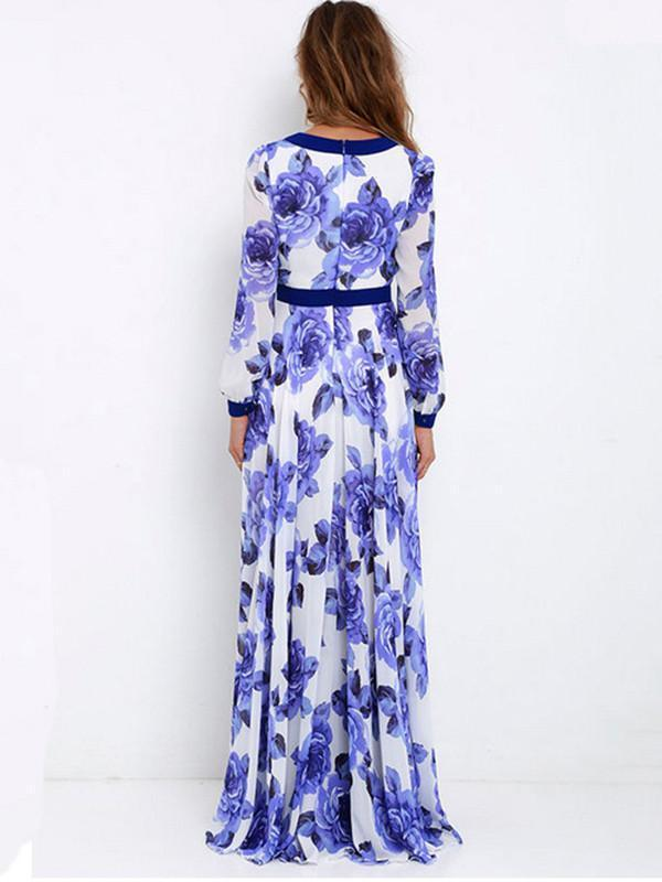 Fashion Long Sleeves Deep V-neck Women Floral Maxi Dress - sparshine