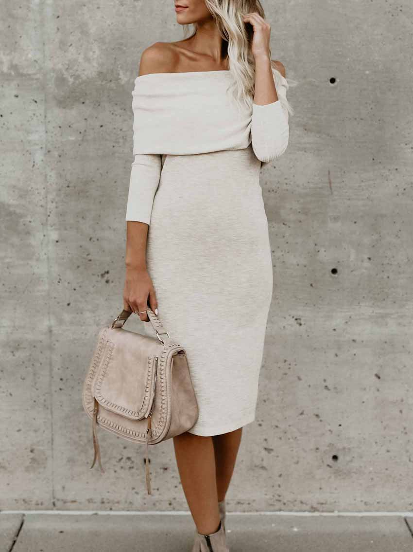 Off-Shoulder Slim Fit Midi Bodycon Dress