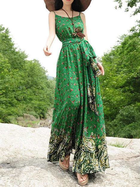 Elegant Floral-Print Slim Fit Stripes Off-Shoulder Lace-Up Maxi Dress - sparshine