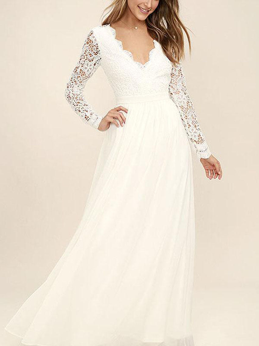 Pretty White Lace V-Neck Long Sleeve Maxi Dress Evening Dress