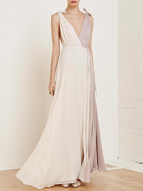 Chiffon Asymmetric Split-Joint Deep V-Neck Maxi Dress - sparshine