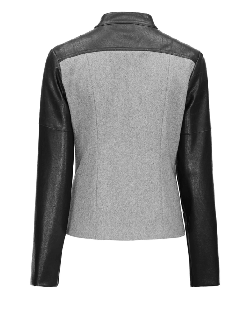 Stand Collar Faux Leather Zipper Jacket