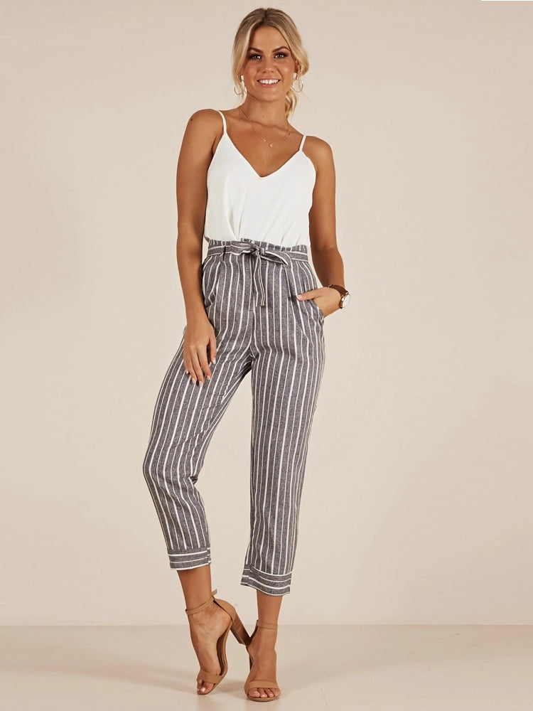 Striped High Waist Slim High Nine Point Pants