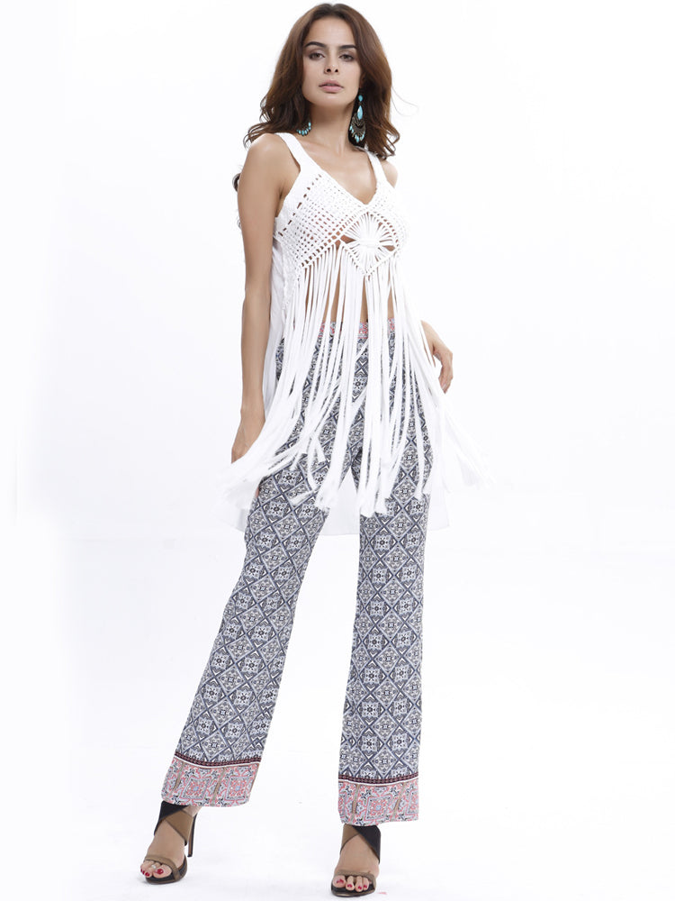 Deep V Neck Tassel Knit See-though Camis - sparshine