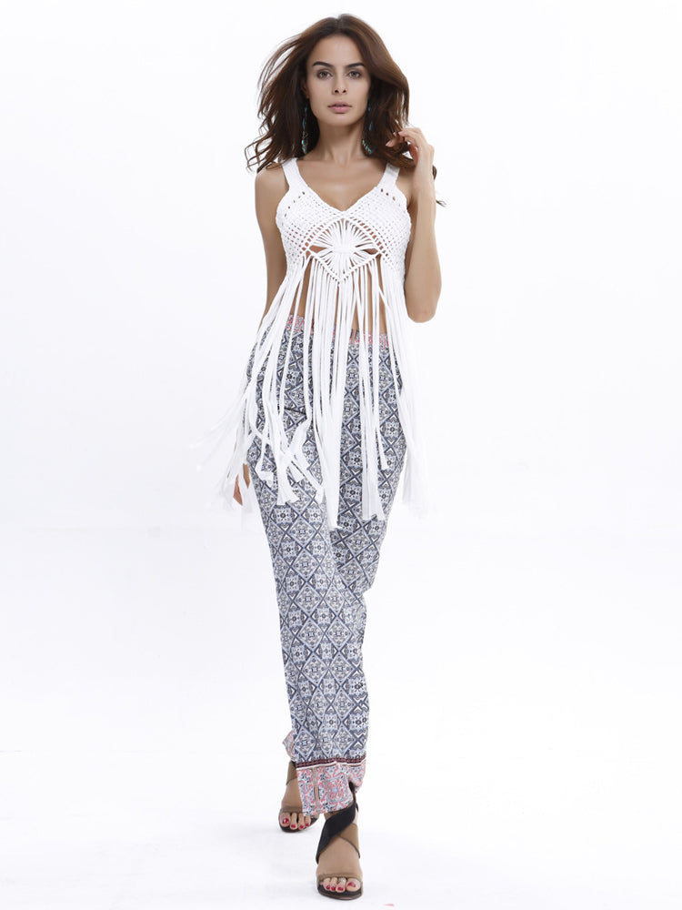Floral Edge Print Long Pants