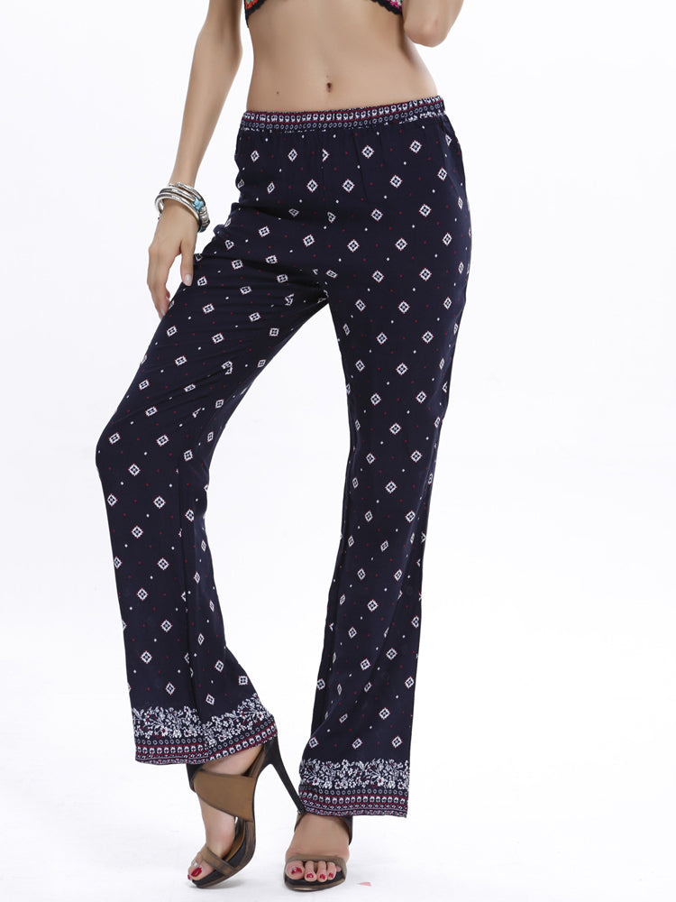 Polka Dot White Square Shape Floral Long Pants