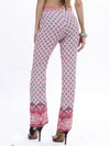 Folk-Custom Floral Print Pants Full-Length Trousers