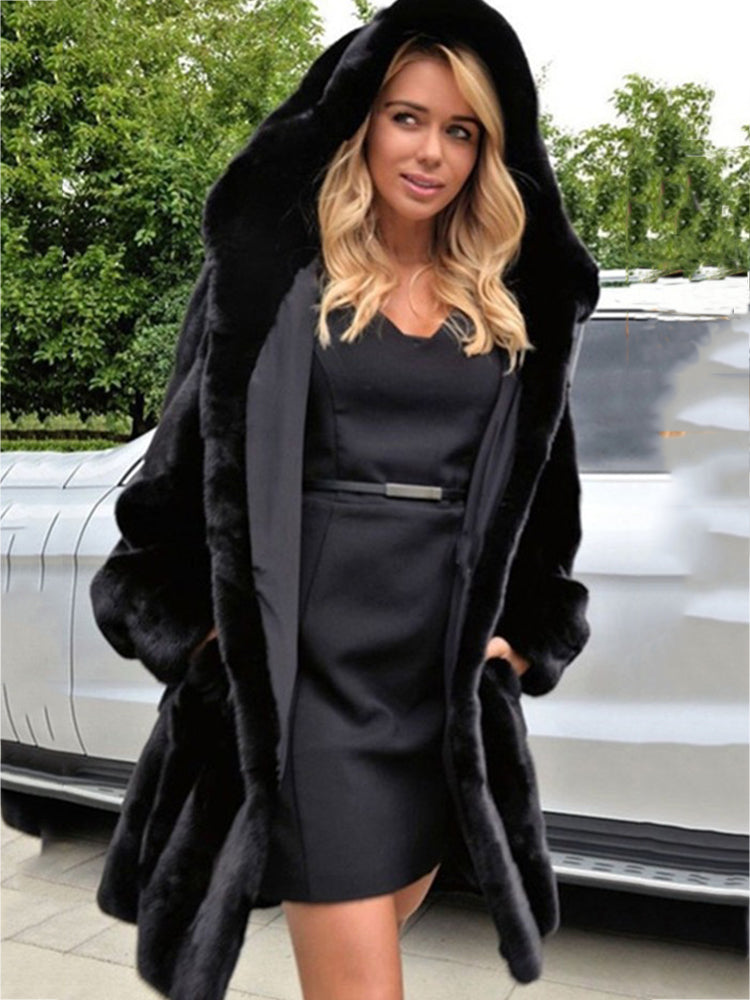 Faux Fur With Hooded Black Long Coat