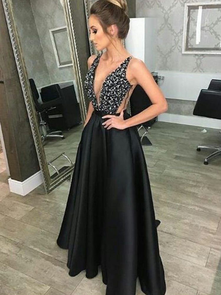 V-neck sleeveless sequin backless formal dress