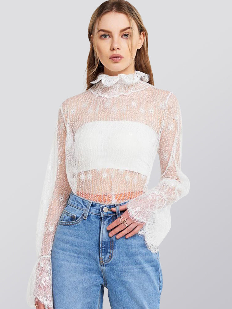 High Collar Lace Perspective lLantern Sleeves Blouse