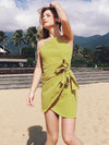 High Quality Sling Boat Shoulder Sleeveless Bow Knot Belt Day Dress
