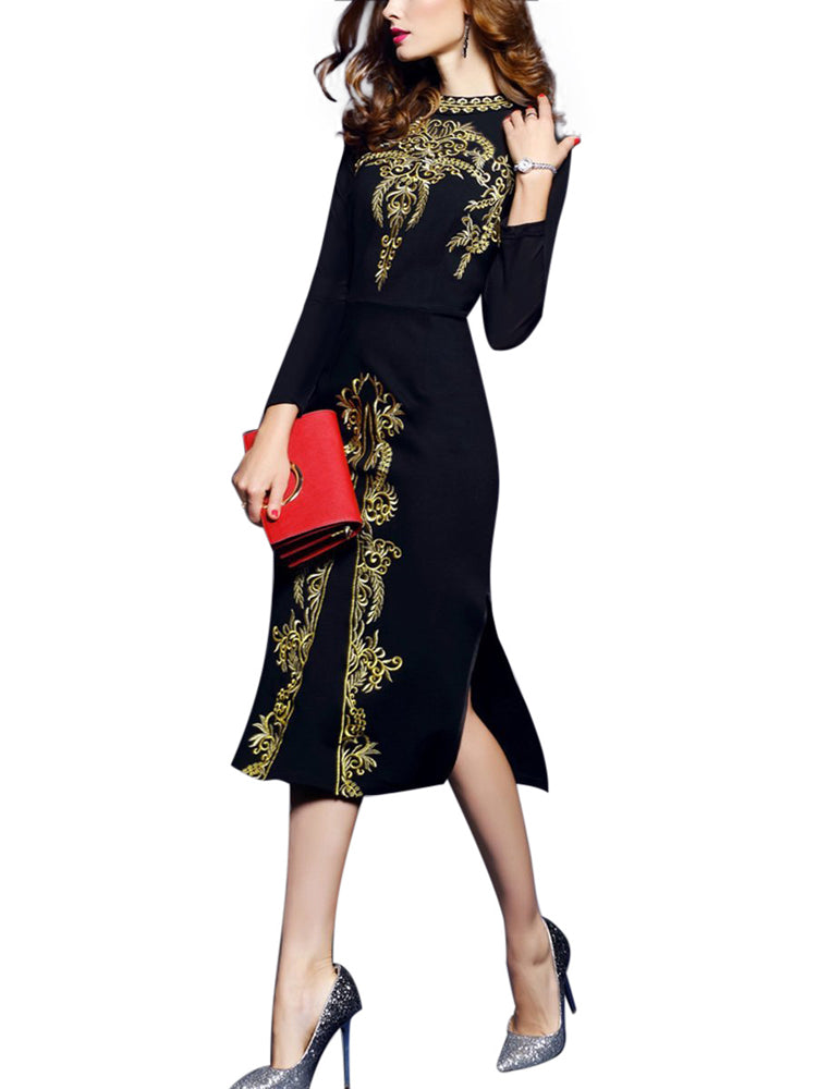 Tight-fitting print skirt long sleeve fromal dress