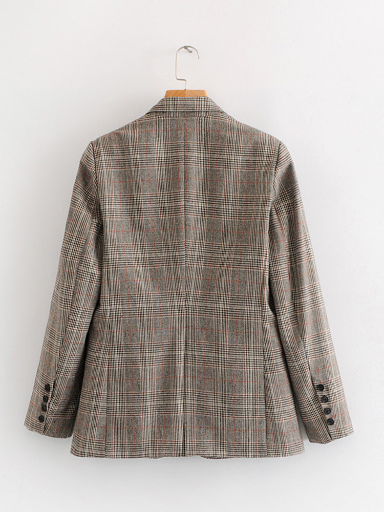 Plus Size Lapel Neck Plaid Retro Blazer
