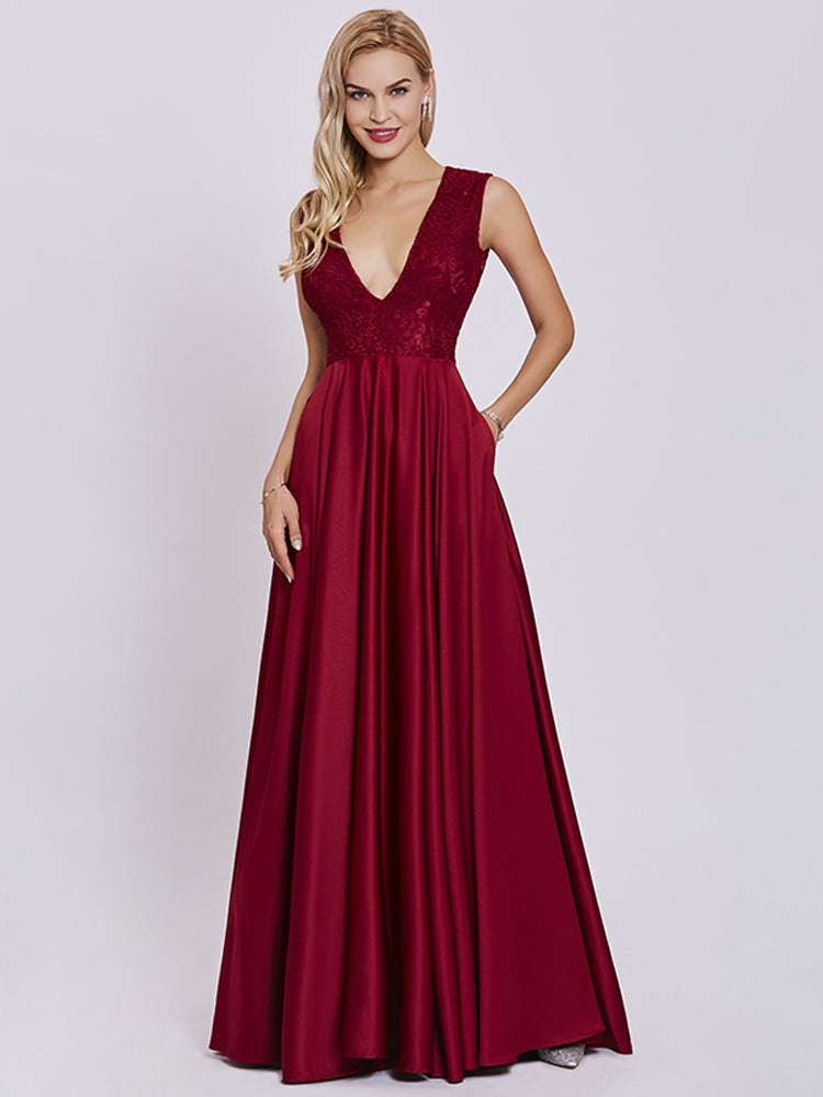 Fancy Sexy V Neck Rust Red Evening Formal Dress
