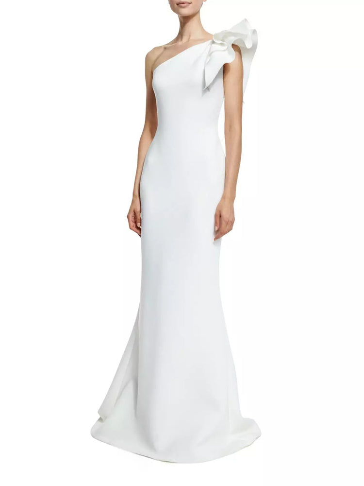 Fancy Sexy White One Shoulder Evening Formal Dress