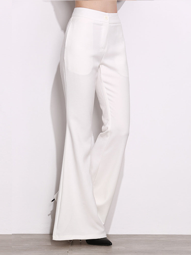 White High Waist Flared Pants