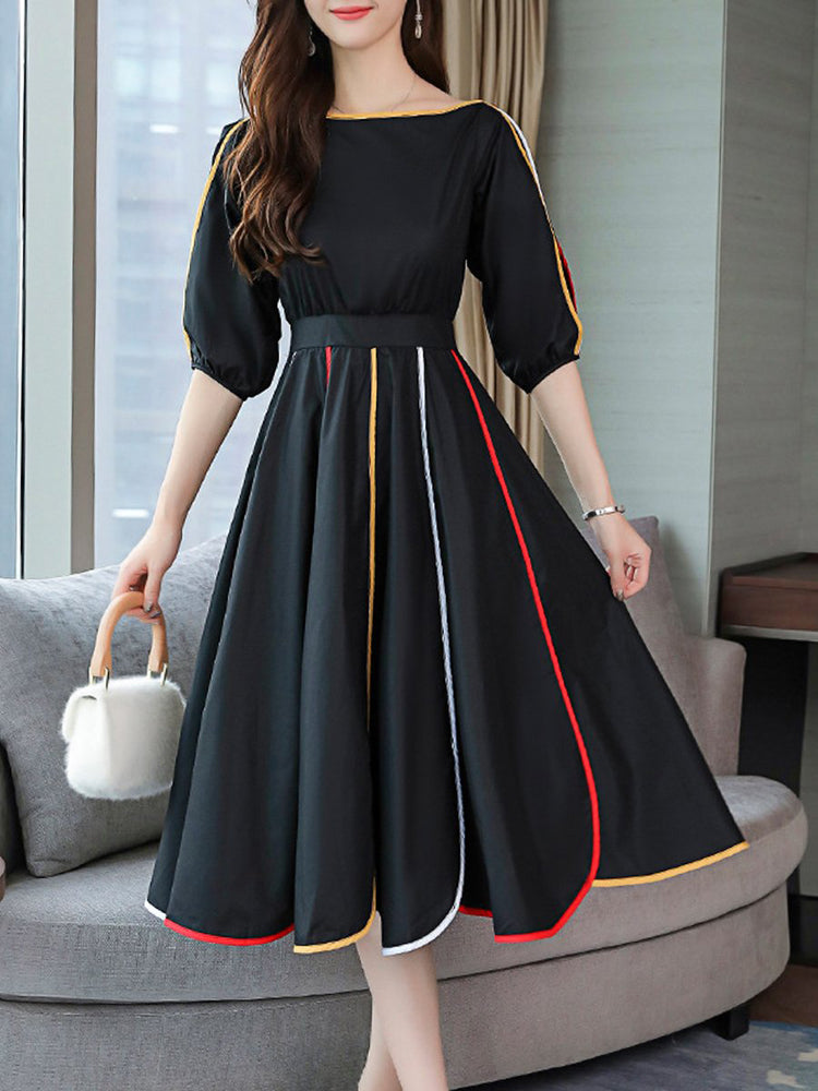 Round Neck Contrast Trim Color Block A-line Dress