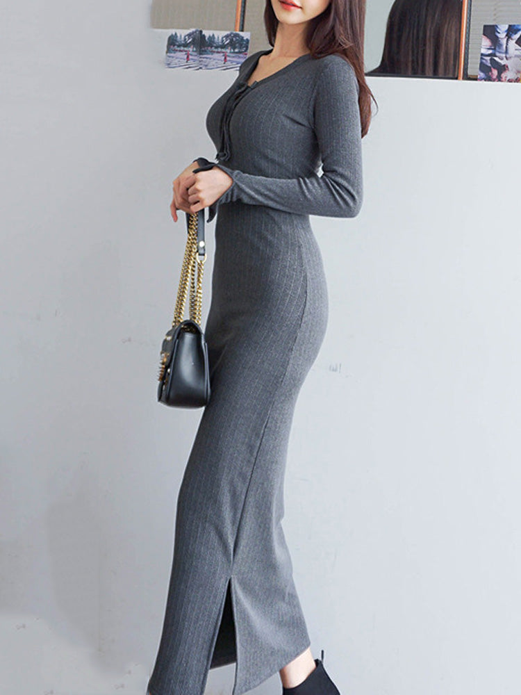 Long slit knit long sleeve bodycon dress