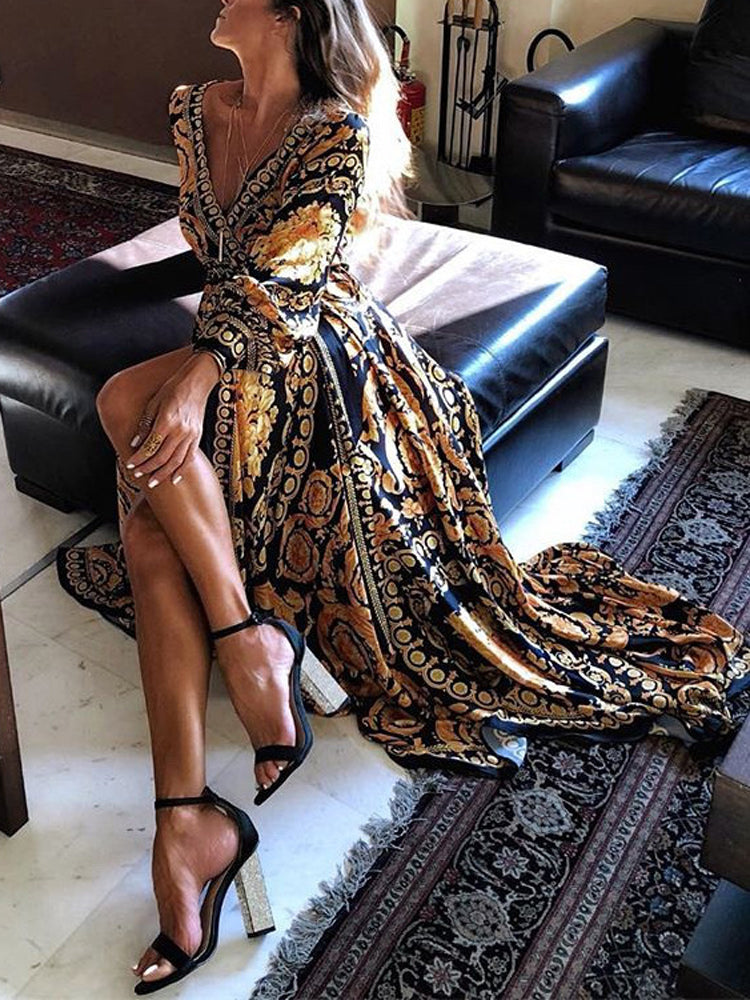 Sexy Deep V Split Dress Printed Maxi Dress