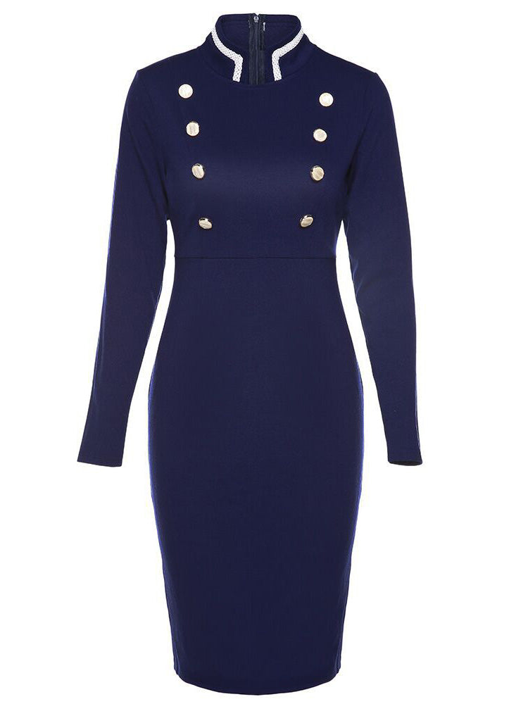 Stand collar Slim professional bodycon dress
