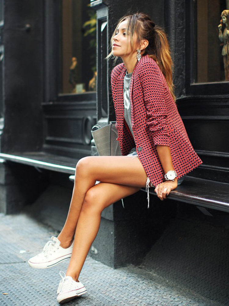Casual Plaid Lapel Blazer