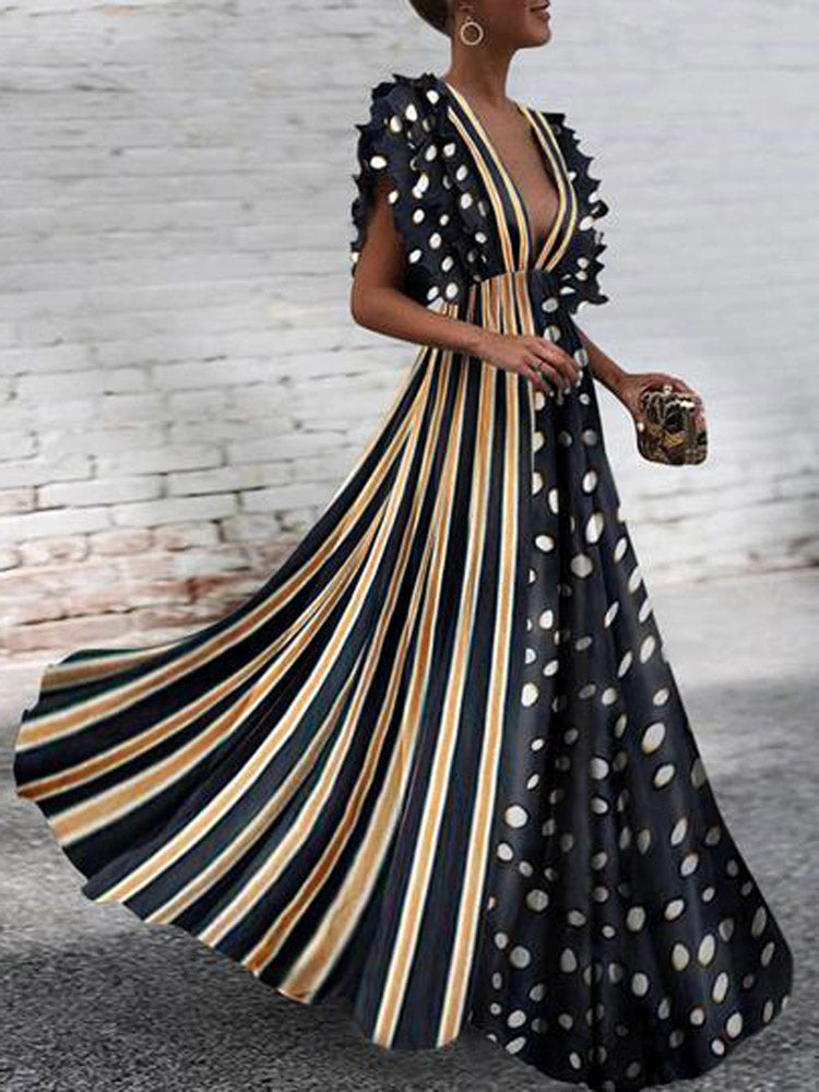Polka Dot Stitching Striped Dresses Deep V-neck Maxi Dress