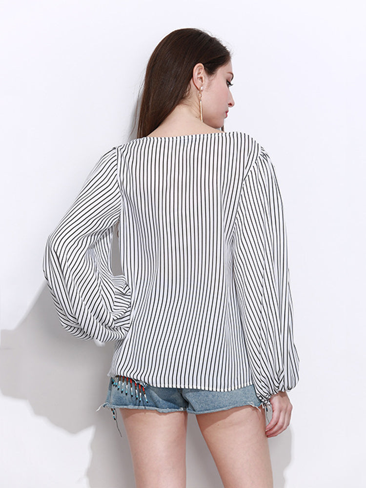 Lantern Long Sleeve Stripe Irregular Blouse