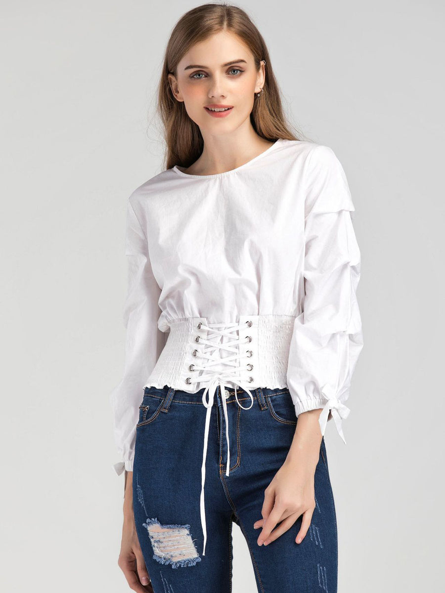 Trendy Frill Trim Shirred Bardot Knotted Hem Blouse