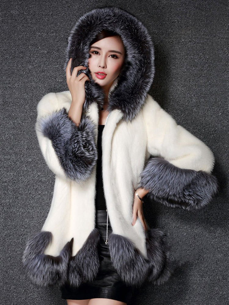 With Hooded Faux Fur Overcoat