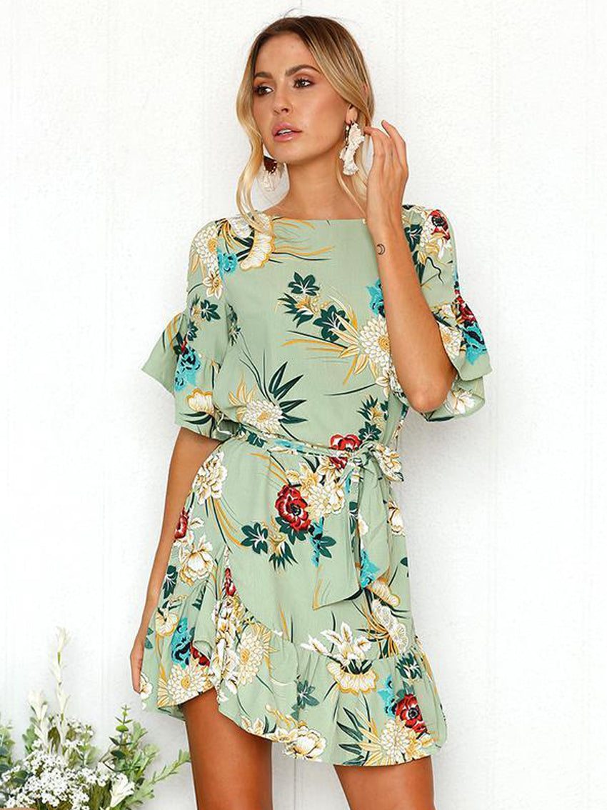 Casual Floral Print Half Sleeves Mini Dress - sparshine