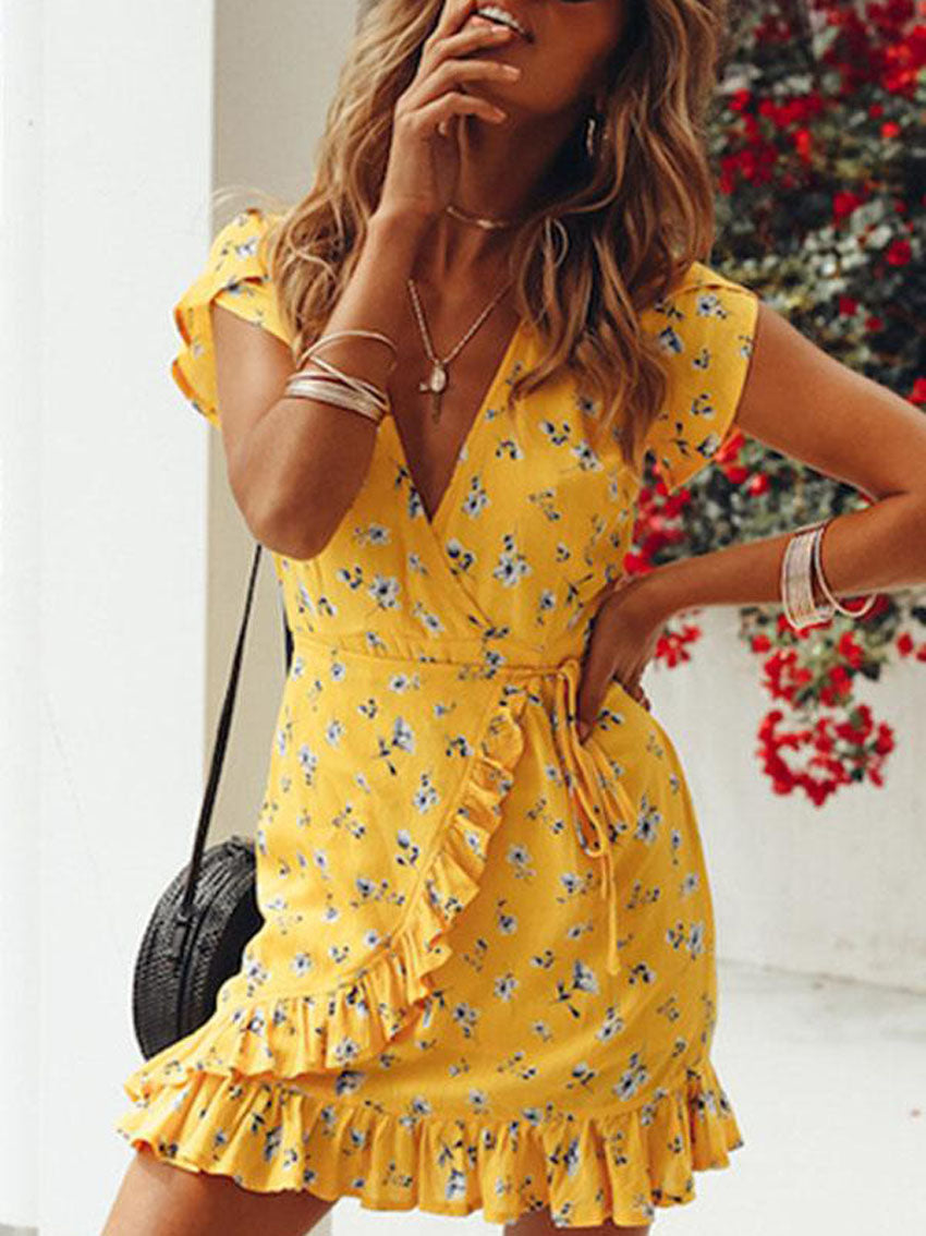 Casual Floral Print Vacation Mini Dress - sparshine