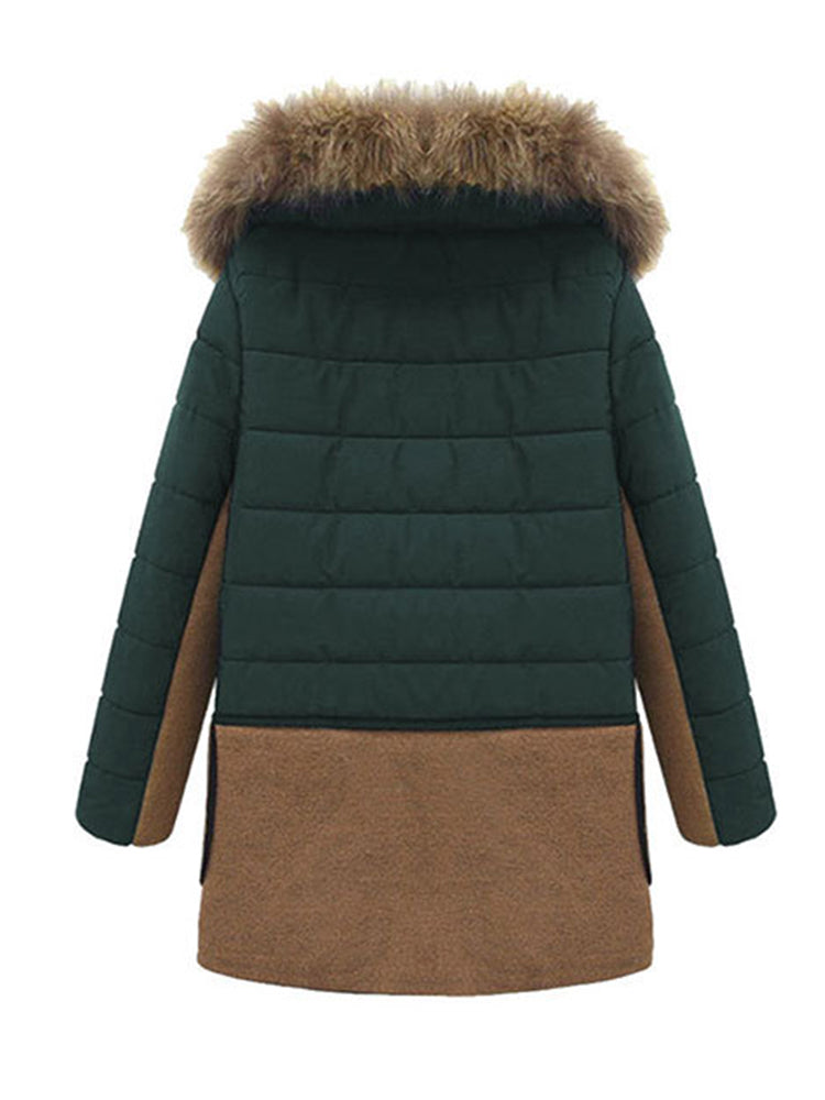 Faux Fur Block With Hooded Overcoat
