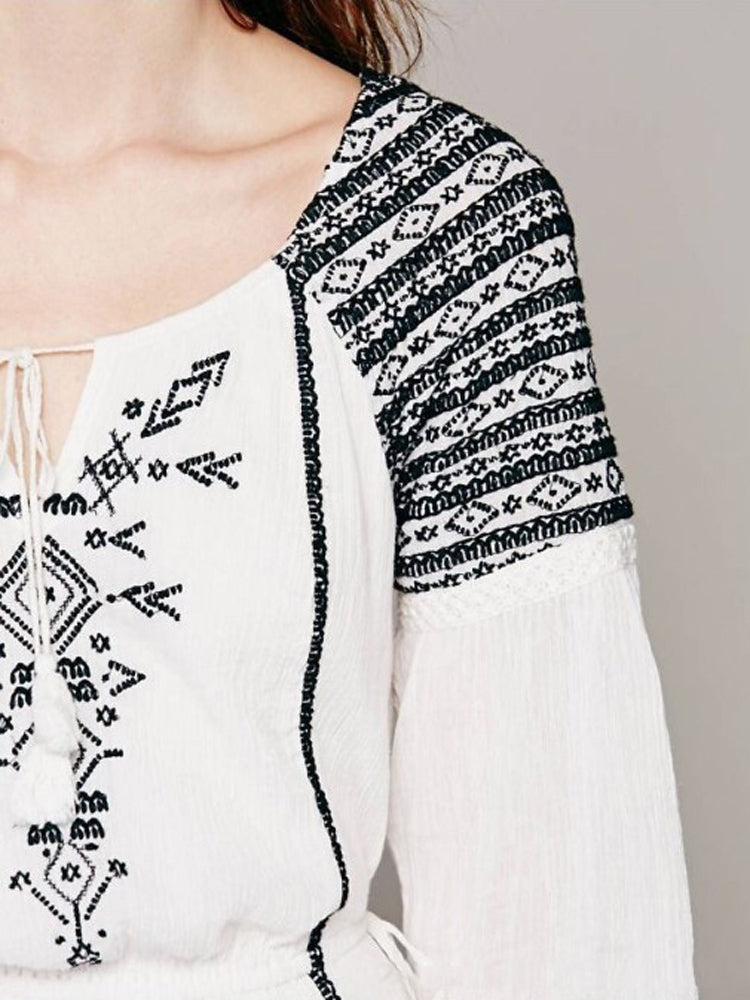 Bohemian Long Sleeve Tassel V-neck Dress - sparshine