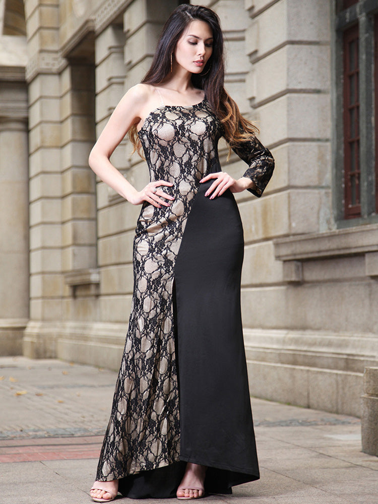 Lace Off One Shoulder Elegant Split Evening Dress
