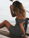 Trendy Knot Back Plaid Off Shoulder Day Dress