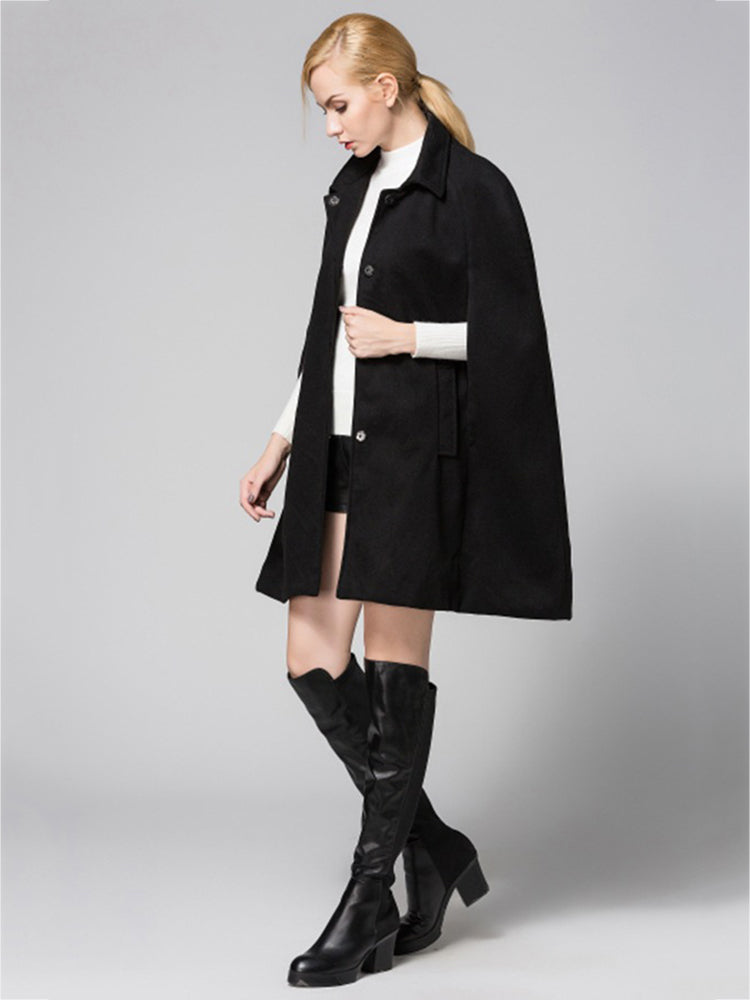 Lapel Neck Solid Color Wool Cape