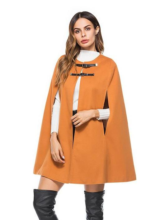 O Neck Leather Buckle Cape