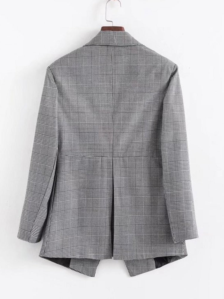 Slim Fit Wild Plaid Suit Blazer