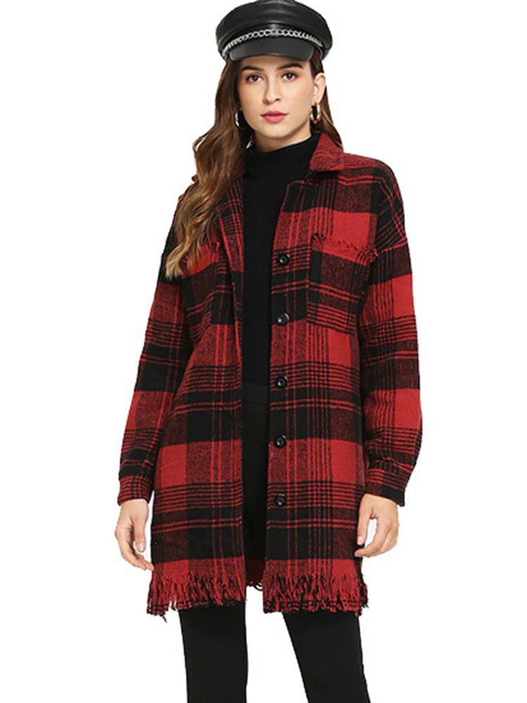 Grid Black And Red Trench Coat