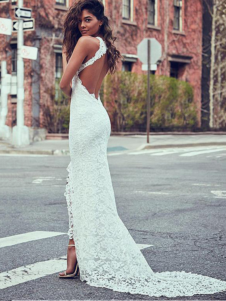 Round neck lace sleeveless maxi formal dress
