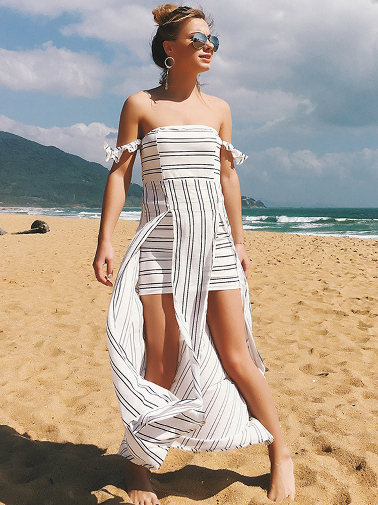 Strapless Chiffon Irregular Slit Dresses