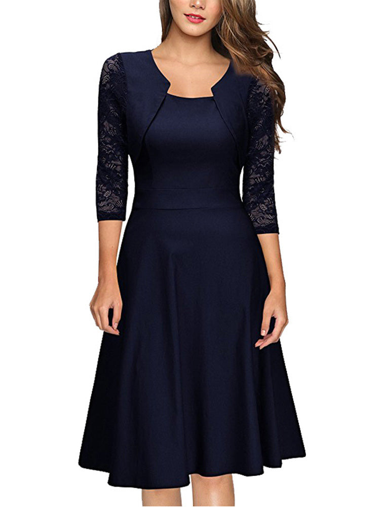 Slim lace square collar A-line dress