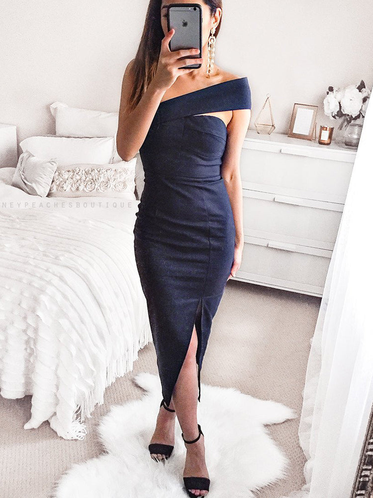 Sexy strapless sleeveless bodycon dress