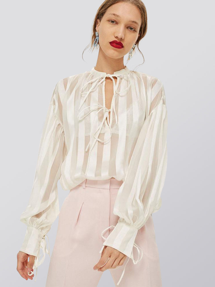 Lantern Sleeve Striped White Perspective Blouse