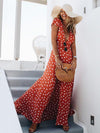 Fashion Pretty Bohemia Floral V Neck Polka Dot Maxi Dress