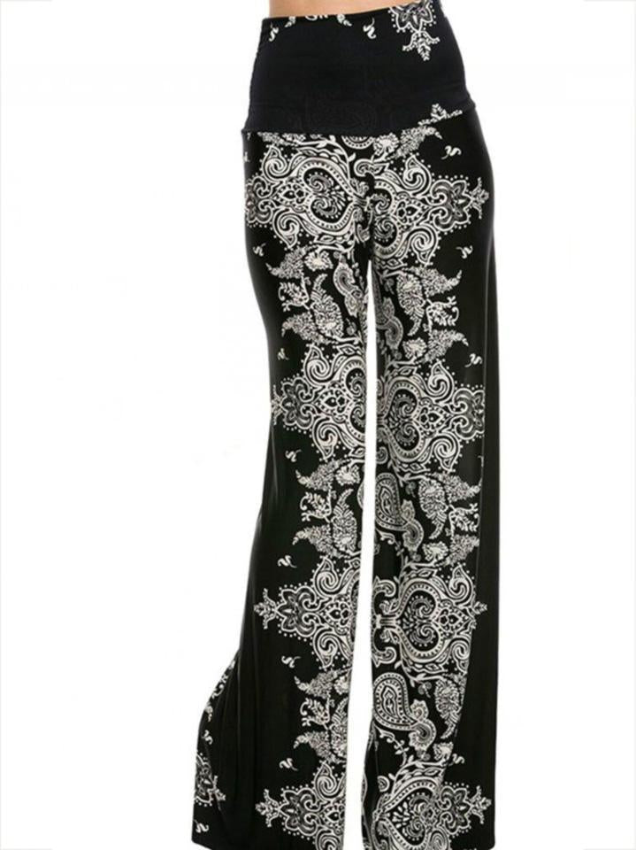 Bohemia Floral Big Hem Wide Leg Bottom Casual Pants - sparshine