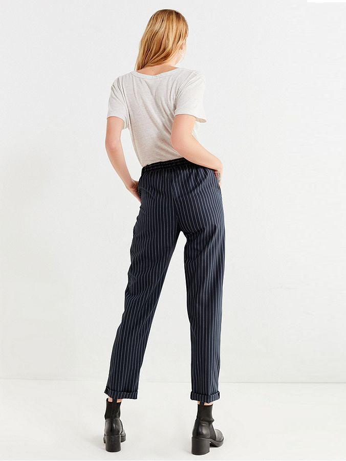 Twill High Waist Loose Feet Nine Points Harem Pants