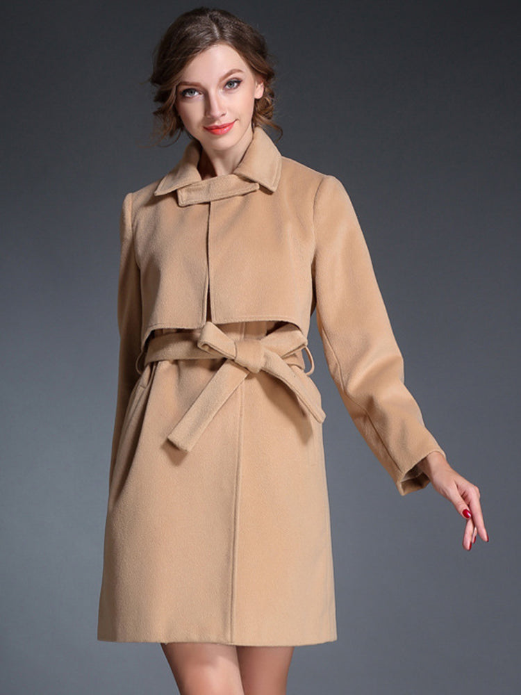 Tan With Belt Trench Coat