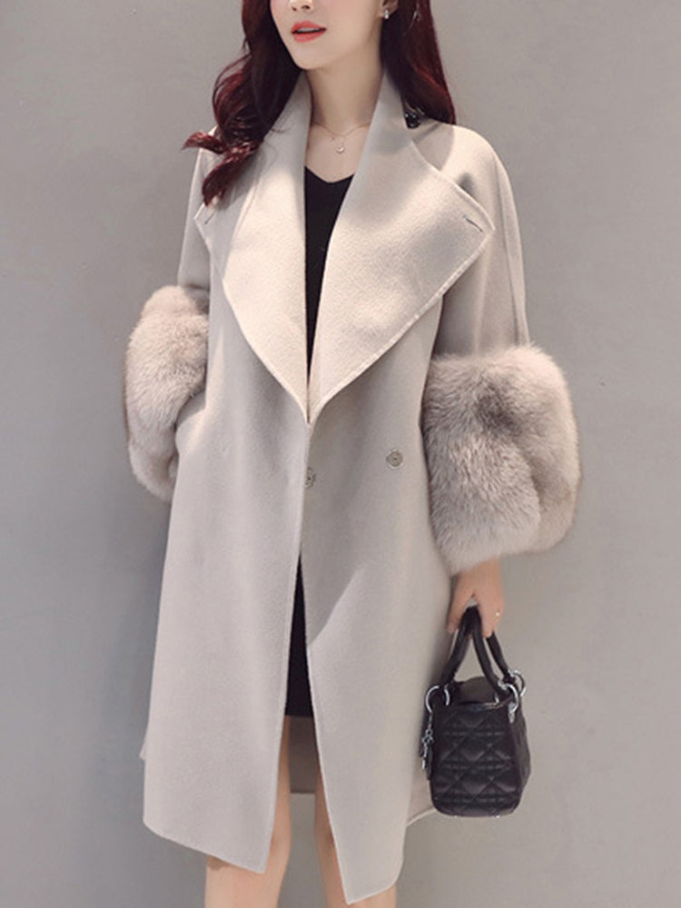 With Pocket Plain Faux Fur Trench Coat
